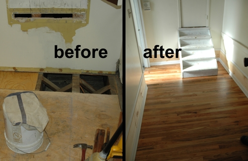 An old damaged wooden floor and a shiny new replacement floor.